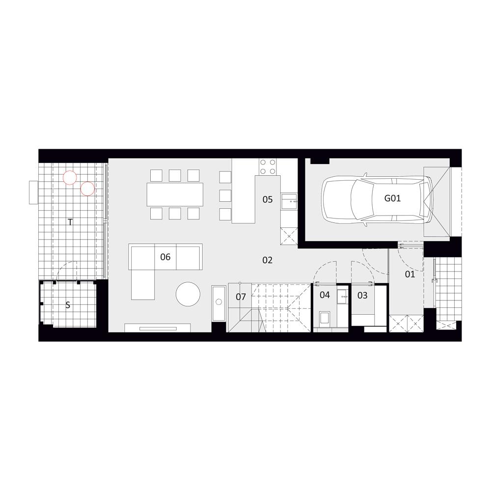 B 3 - rzut I piętra