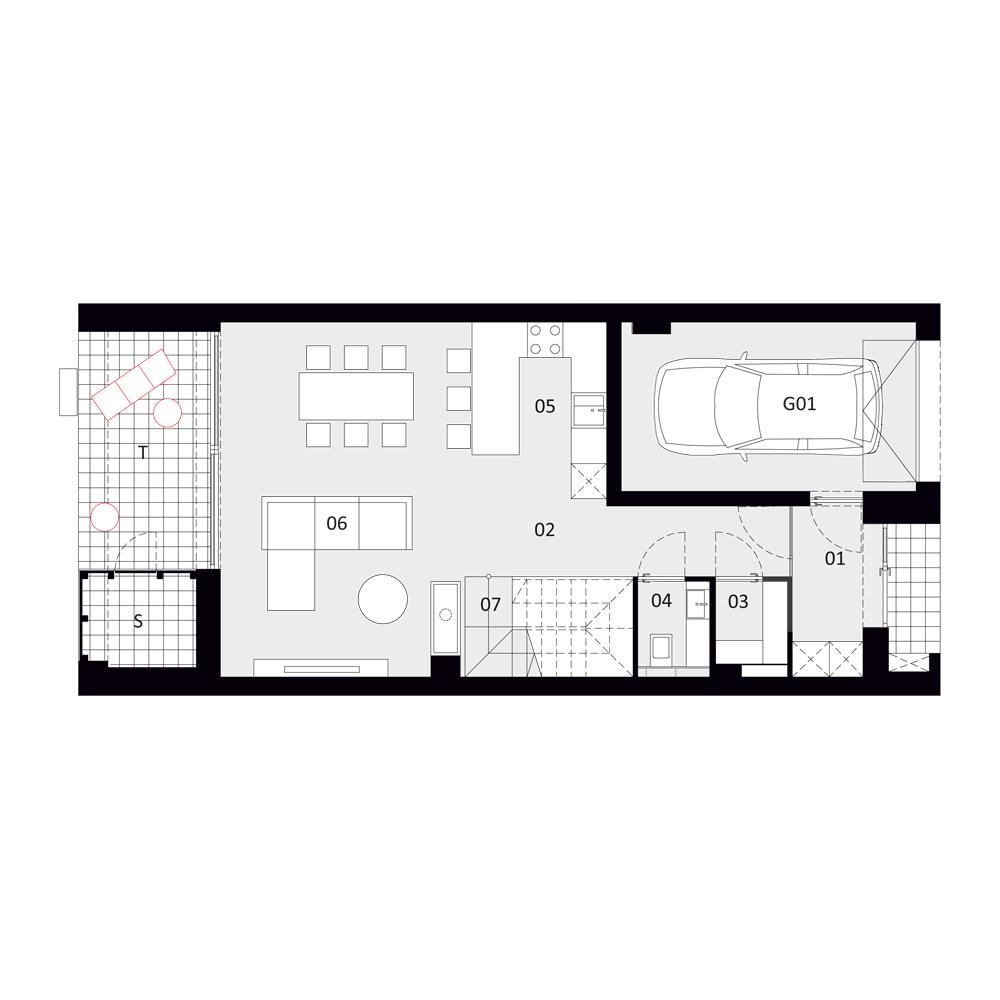 B 4 - rzut I piętra