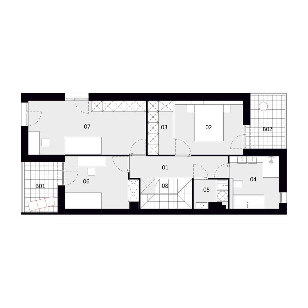 B 5 - rzut I piętra